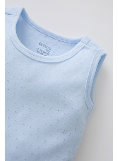 DeFacto Erkek Bebek Marin Baskılı Pamuklu Kolsuz Çıtçıtlı Tişört Tulum Mavi